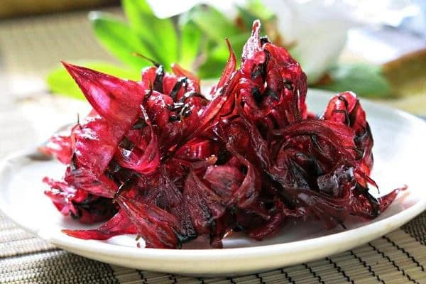 candied roselle flowers