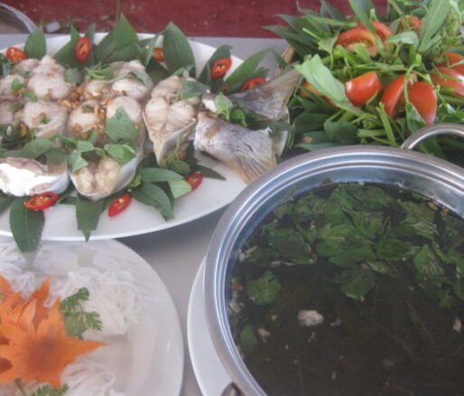 catfish canh chua soup and roselle leaves