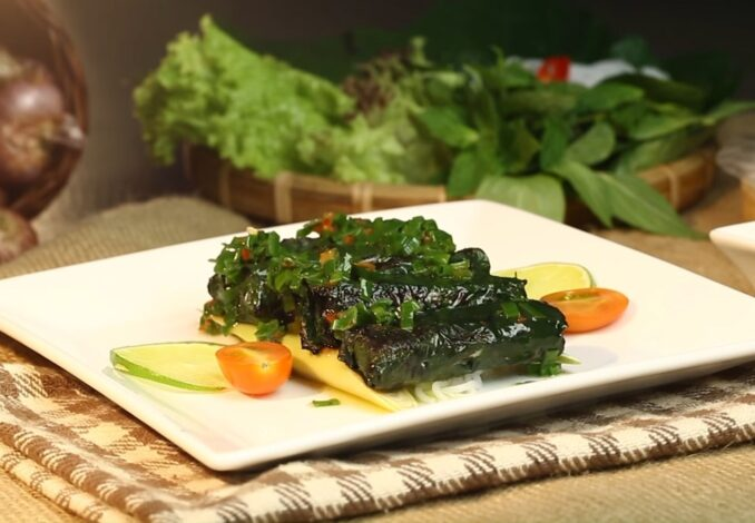 grilled snakehead fish in lolot leaves