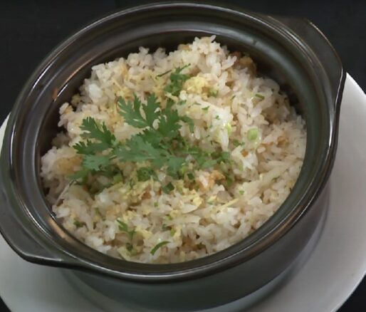Vegan Fried Rice with Crunchy Particles