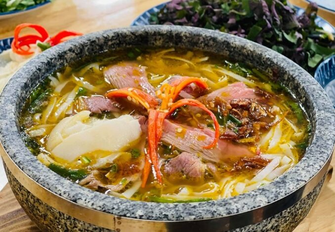 goat pho in a stone bowl