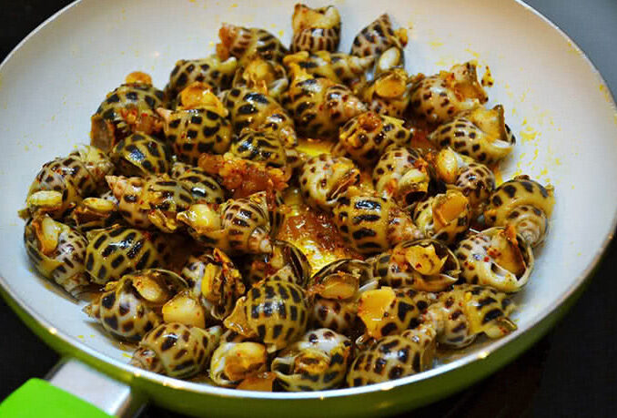 Sauteed Spotted Babylon Snails with Butter and Garlic