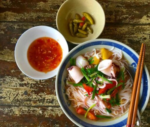 Vietnamese squid noodle soup