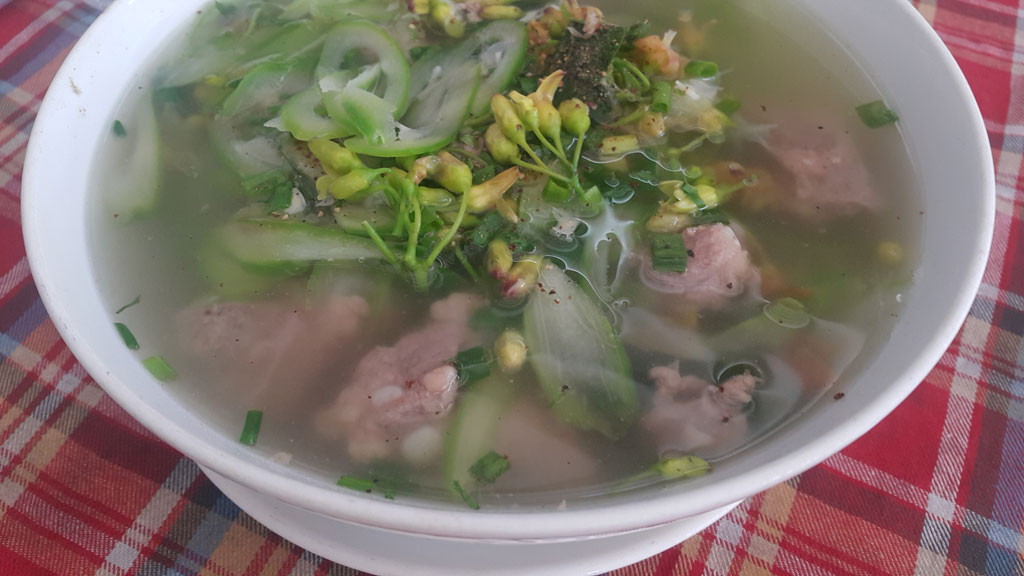pork ribs soup with rattle skulls and flowers