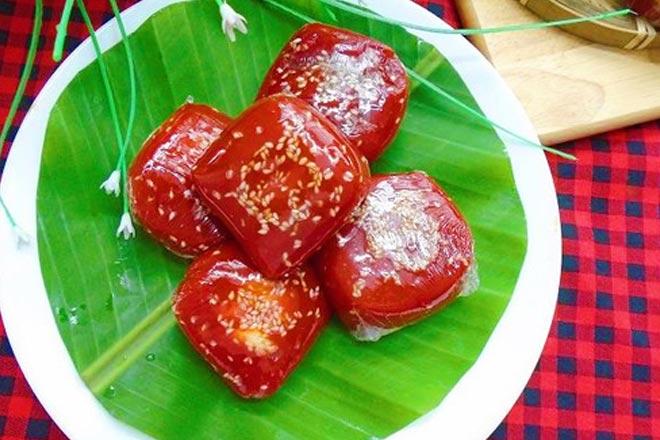 red translucent gac dumplings