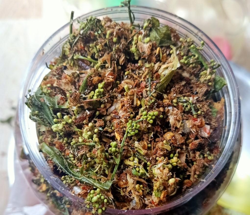Neem flower bud salad with shredded dried fish